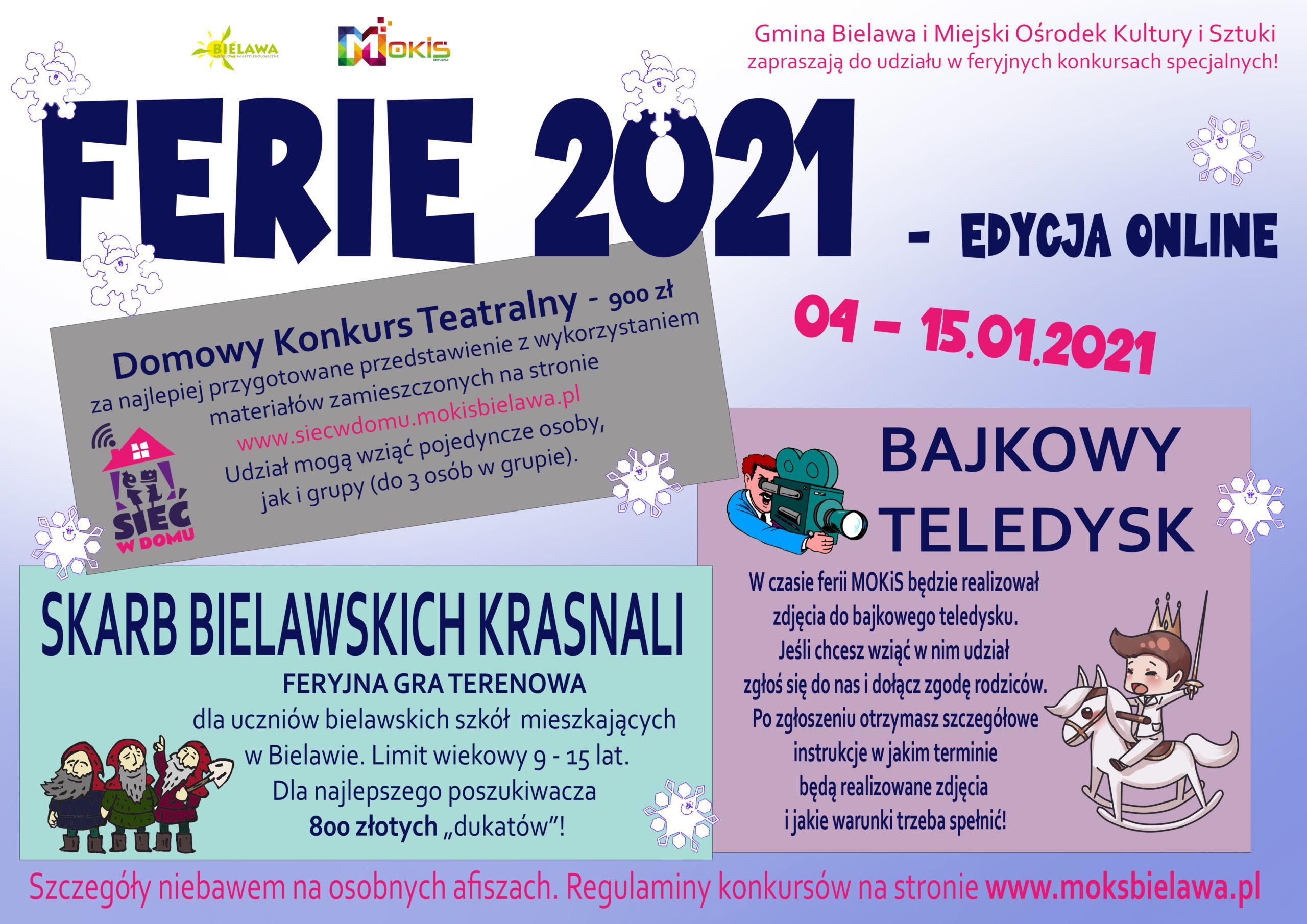 Plakat informacyjny dot. ferii online w Miejskim Ośrodku Kultury i Sztuki w Bielawie w 2021 roku