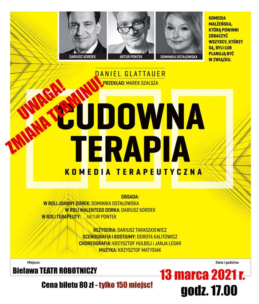 Plakat spektaklu CUDOWNA TERAPIA