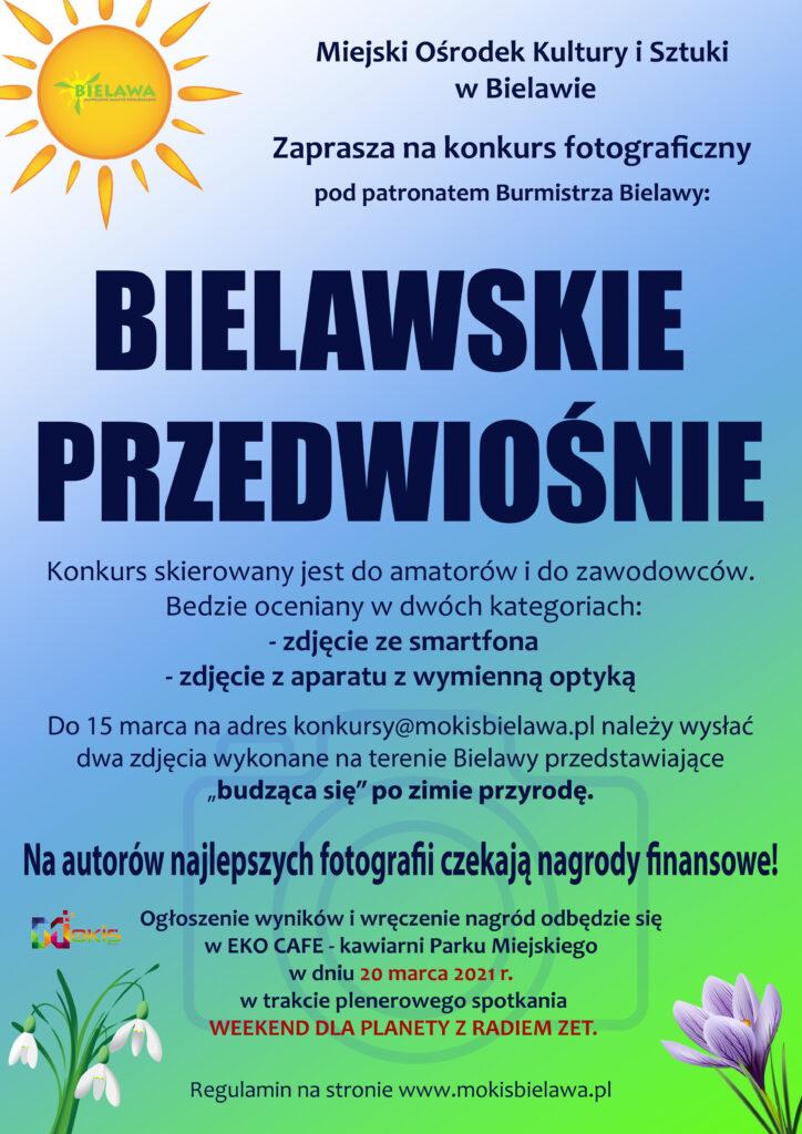 Plakat konkursu fotograficznego BIELAWSKIE PRZEDWIOŚNIE