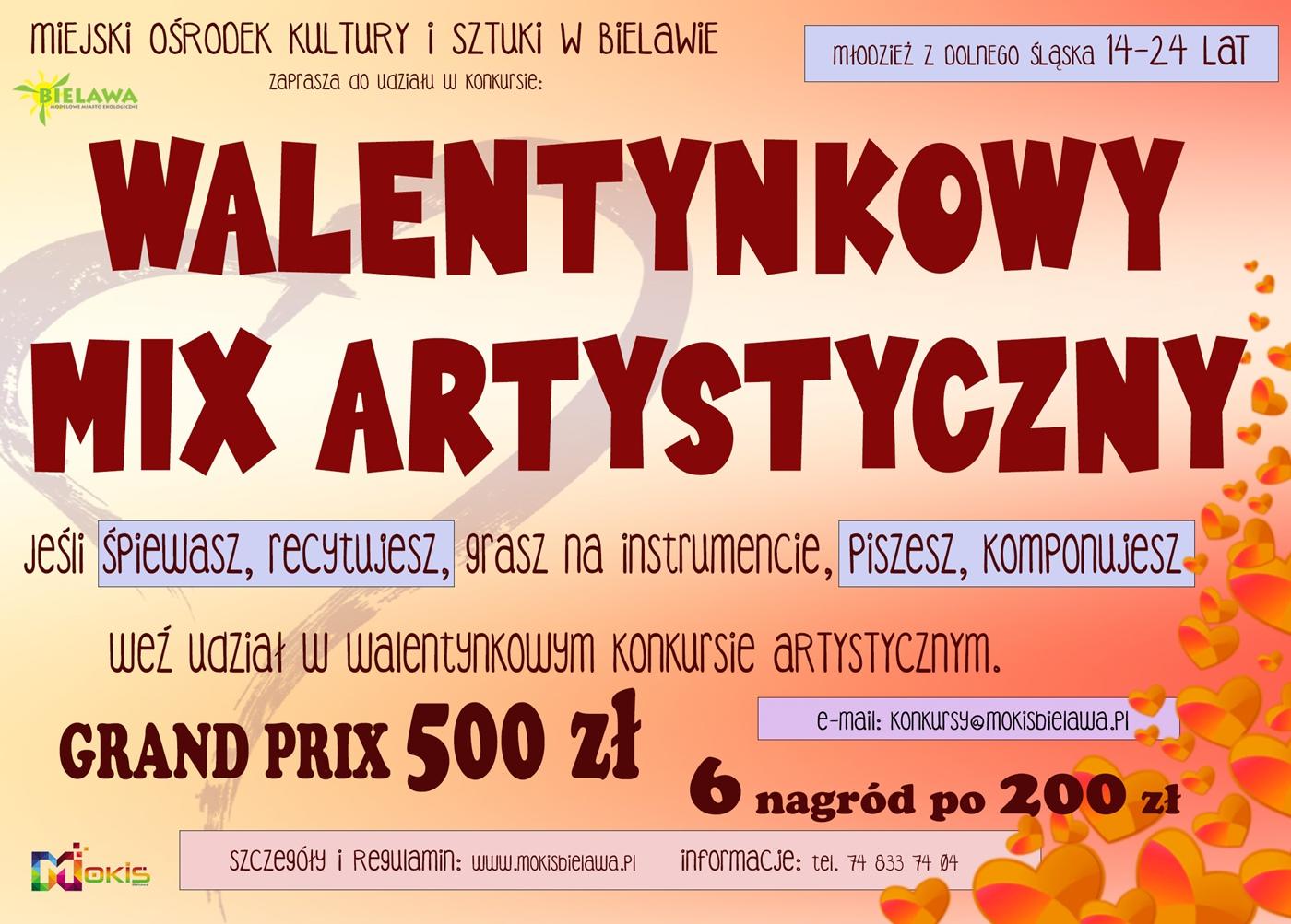 Plakat konkursu WALENTYNKOWY MIX ARTYSTYCZNY