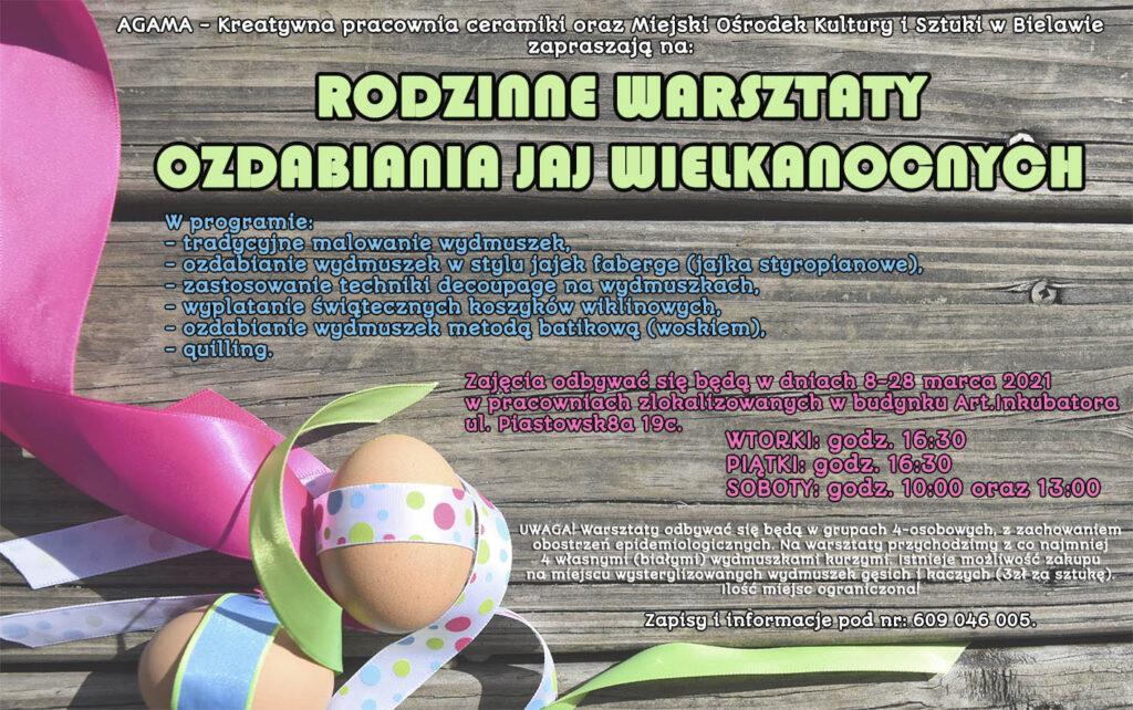 Plakat warsztatów ozdabiania jaj wielkanocnych
