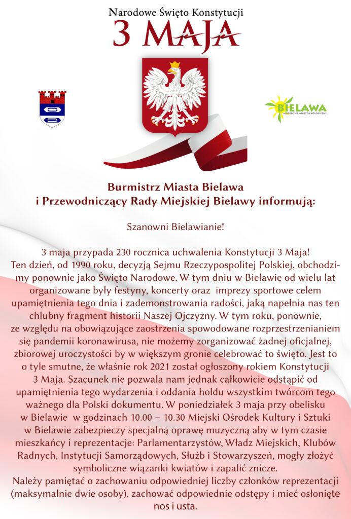 Infografika z komunikatem dot. tegorocznych obchodów Święta Narodowego Trzeciego Maja