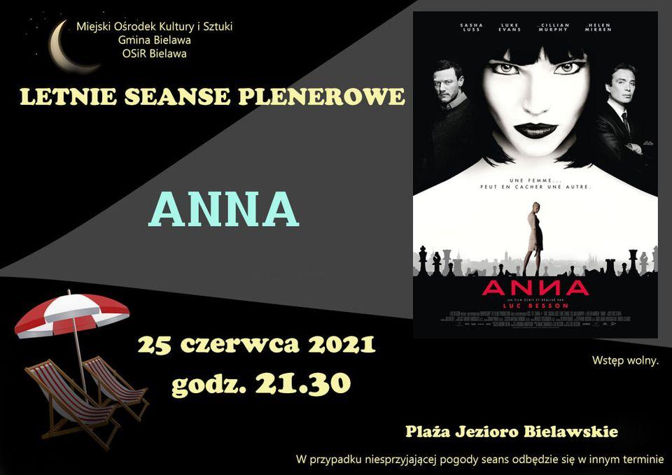 Plakat seansu plenerowego - filmu ANNA