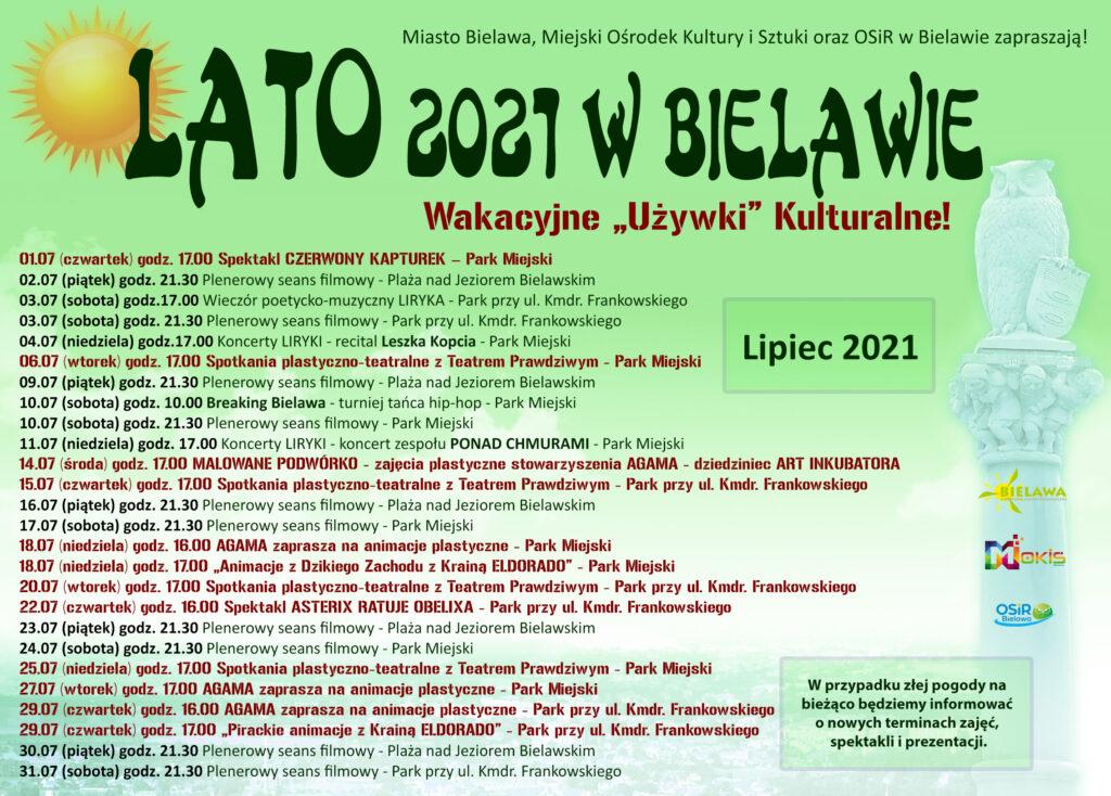 Plakat z rozpiską atrakcji na miesiąc lipiec