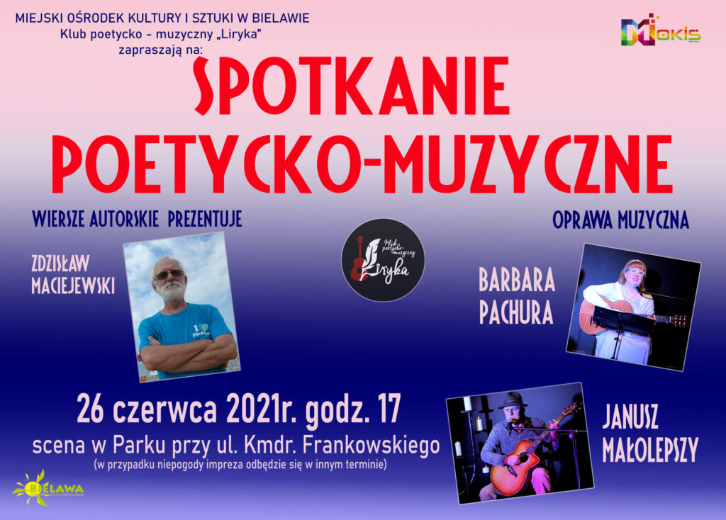 Plakat spotkania poetycko-muzycznego