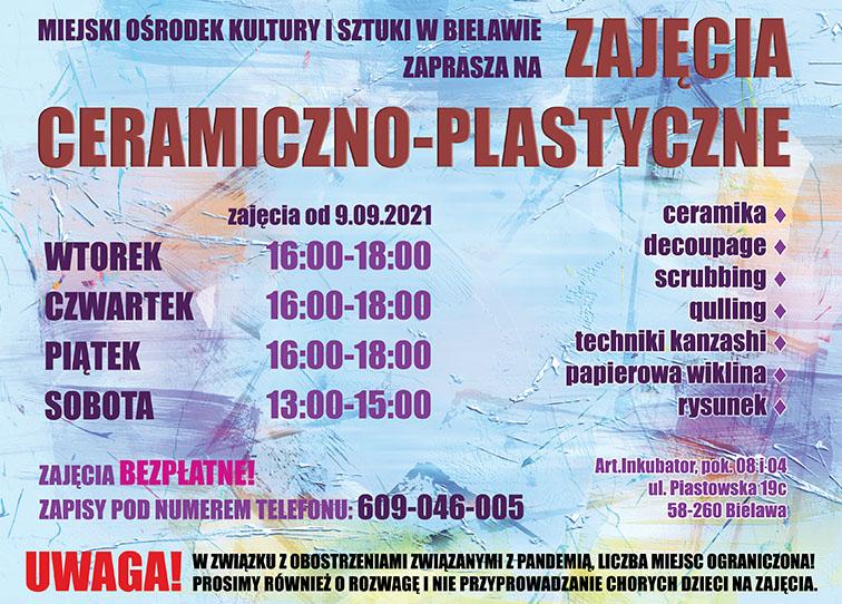 Plakat zajęć ceramiczno-plastycznych - miniaturka