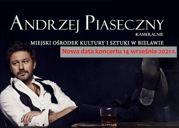 Baner z informacją o przeniesieniu koncertu Andrzeja Piasecznego - miniaturka