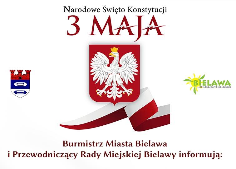Infografika z komunikatem dot. tegorocznych obchodów Święta Narodowego Trzeciego Maja - miniaturka